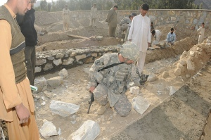 The one of the Military's Provincial Reconstruction Teams at work building a school in Afghanistan